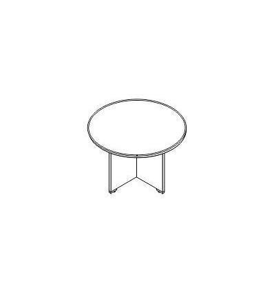 Tavolo riunione rotondo con gamba legno