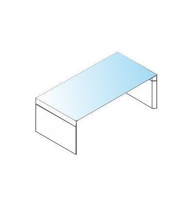 Scrivania con piano in vetro e struttura in legno