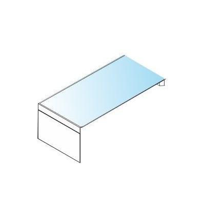 Scrivania da appoggio con piano in vetro e struttura in legno