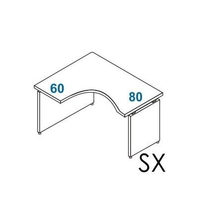 Scrivania angolare Dx - Sx gamba in legno