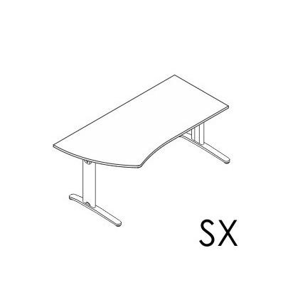 Scrivania sagomata Dx - Sx gamba in metallo