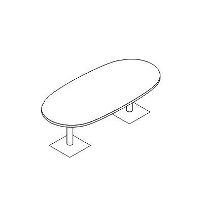 Tavolo riunione ovale con gamba metallo