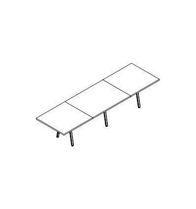 Tavolo riunione rettangolare con gamba a cavalletto
