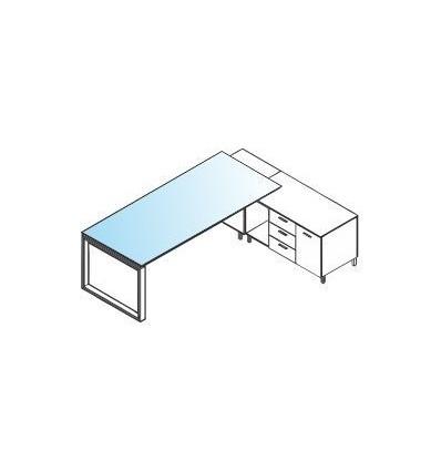 """Scrivania con piano in vetro ad """"L"""" con mobile di servizio Sx / Dx - gamba ad anello"""