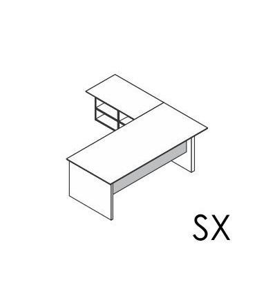 Scrivania con allungo Dx / Sx con basamento in legno
