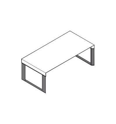 Scrivania con piano in legno e struttura in metallo