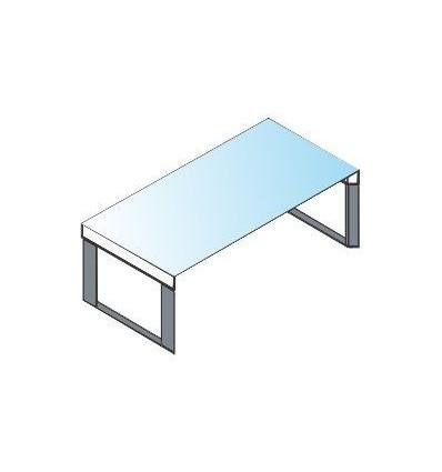 Scrivania con piano in vetro e struttura in metallo