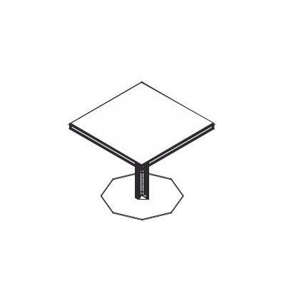 Tavolo riunione quadrato con basamento in metallo