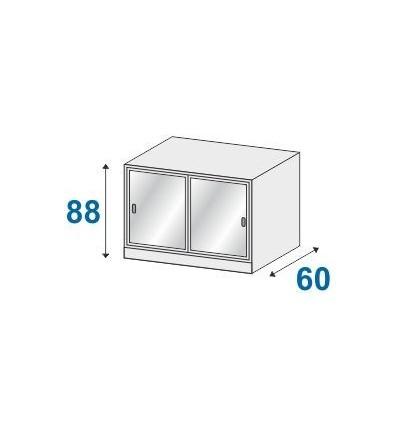 Armadio sopralzo ad ante scorrevoli in vetro temperato con serratura